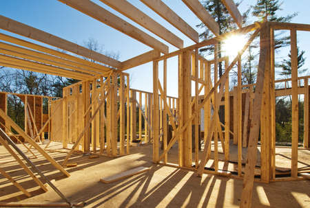 Photo pour Interior framing of a new house under construction  - image libre de droit