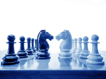 Photo for Chess conflict in blues - Royalty Free Image