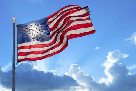 Foto de American flag waving in the wind - Imagen libre de derechos