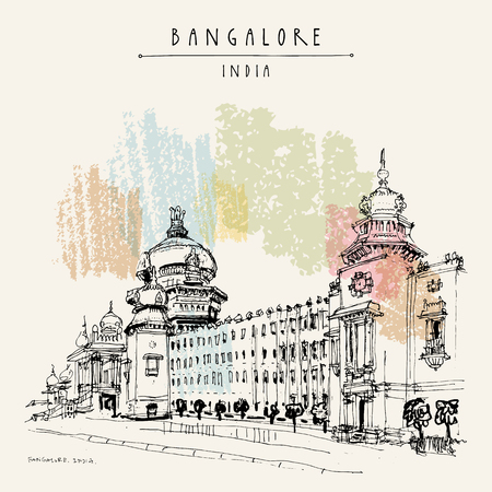 Illustration pour Bangalore (Bengaluru), Karnataka, India. Building in Neo-Dravidian style. Travel sketch. Vintage hand drawn postcard template. Vector - image libre de droit
