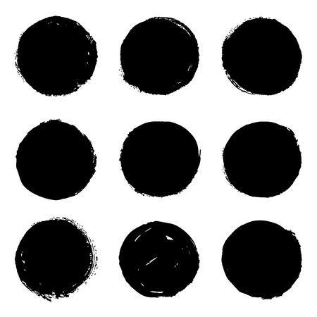 Ilustración de Set of 9 black grungy ink brush hand drawn circles, blots, stains. Isolated design elements on white background. Vector illustration - Imagen libre de derechos