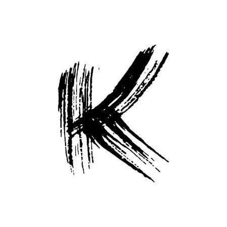 Ilustración de Letter K. Handwritten by dry brush. Rough strokes font. Vector illustration. Grunge style elegant alphabet. - Imagen libre de derechos