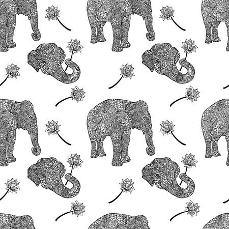 Elephants seamless pattern in asian style. Mandala style background. Vector illustration.