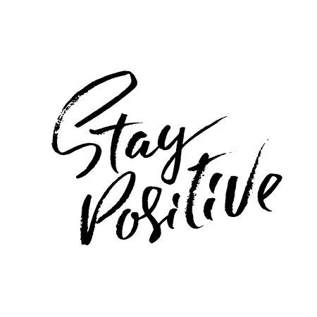 Illustrazione per Stay Positive. Hand drawn dry brush motivational lettering. Ink illustration. Modern calligraphy phrase. Vector illustration - Immagini Royalty Free