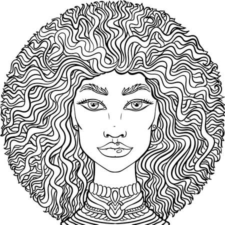 Illustration pour Hand drawn doodle girlss face on white background. Womens portrait for adult coloring book. - image libre de droit