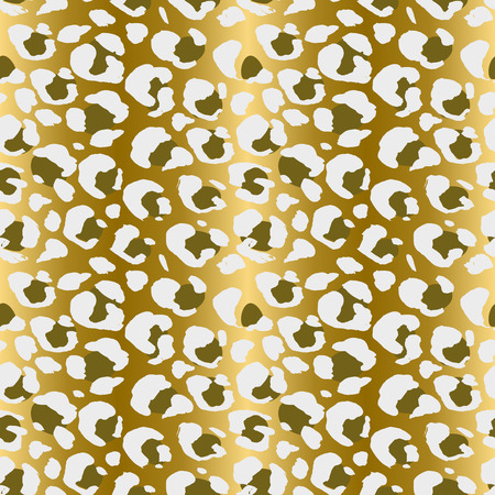 Seamless leopard pattern. Animal skin grunge texture. Gold gradient background. Vector illustration.