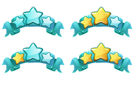 Ilustración de level complete templates, stars rank on blue ribbon, assets for games design, Cartoon game rating icons. Ranking elements. GUI elements for animation. - Imagen libre de derechos