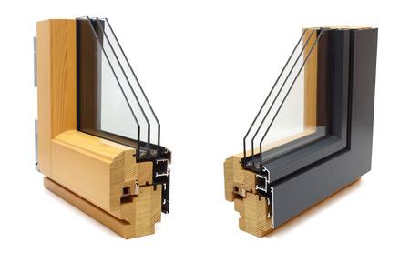 Foto de aluminum window with wooden wrap sample - Imagen libre de derechos