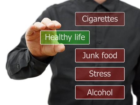 Photo pour Man Choosing healthy life option - image libre de droit