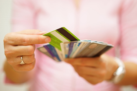 Photo pour woman choose one credit card from many, concept of  credit card debt, - image libre de droit