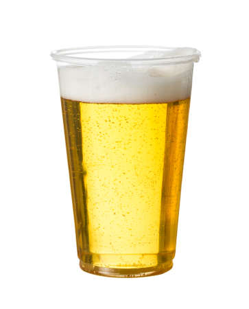 Photo pour Golden beer, ale or lager in a plastic disposable cup or glass for party concert or by pool for safety - image libre de droit