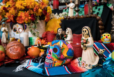 Photo for CAPISTRANO, CALIFORNIA - 1 NOVEMBER 2017: Painted skulls in display to illustrate Day of the Dead Festival. - Royalty Free Image