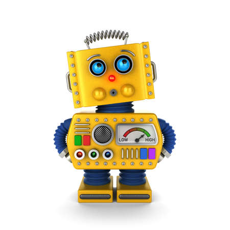 Foto de Innocent looking toy robot acting as if it was not his or her fault over white background. - Imagen libre de derechos