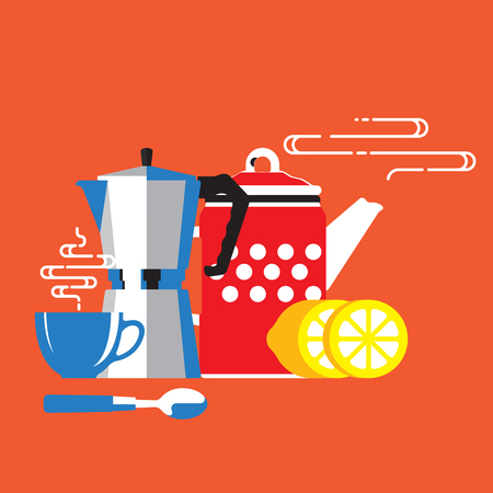 Illustration for Coffee cup, coffee machine, lemon, coffee time - Royalty Free Image