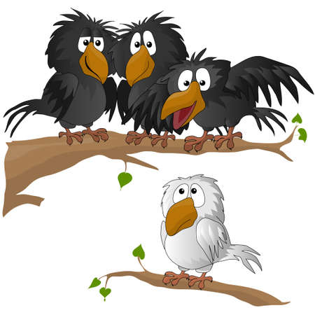 Illustration pour funny bird. vector illustration. owl. crow. sparrow - image libre de droit