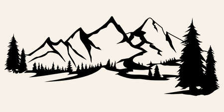 Illustration pour Mountains silhouettes. Mountains vector, Mountains vector of outdoor design elements, Mountain scenery, trees, pine vector, Mountain scenery. - image libre de droit