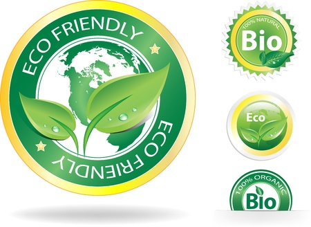 This image is a vector file representing a collection of 4 eco/bio badges,  all the elements can be scaled to any size without loss of resolution.