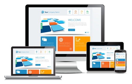 Illustrazione per Responsive design concept on various media devices. - Immagini Royalty Free