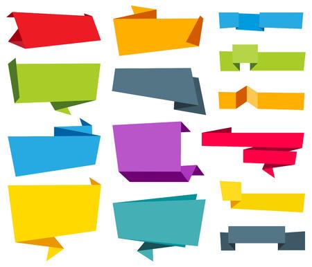 Ilustración de Vector file representing Origami Banner Label Ribbon design collection. - Imagen libre de derechos