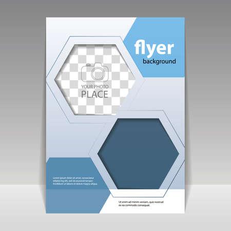 Illustration pour Business or Corporate Flyer Design Template with Hexagonal Pattern - image libre de droit