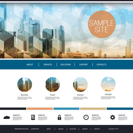 Illustration pour Website Design for Your Business with Skyscrapers Background - image libre de droit