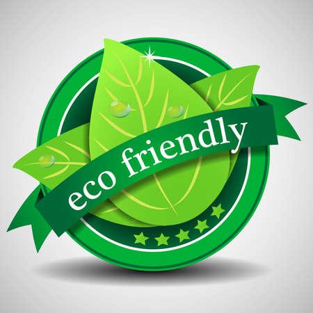 Ilustración de Green Eco Friendly Label or Badge Template - Imagen libre de derechos