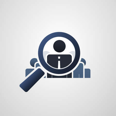 Illustration pour Human Resources  Personal Audit  Headhunter Symbol Design with Magnifying Icon - image libre de droit