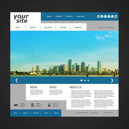 Illustration pour Website Template with Unique Design  Miami Skyline - image libre de droit