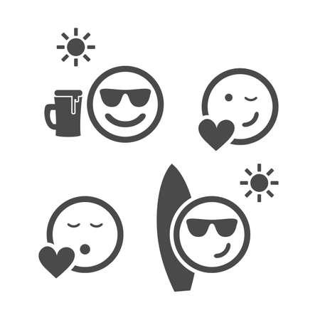 Ilustración de Beach Time and Love - Emoticon Set - Imagen libre de derechos