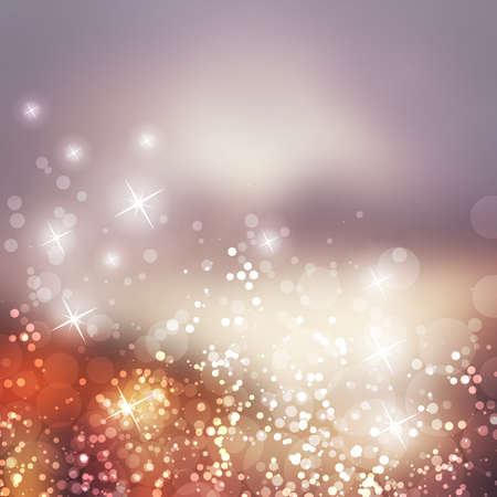 Ilustración de Sparkling Cover Design Template with Abstract, Blurred Background - Cover to Christmas, New Year or Other Designs - Colors: Grey, Purple, Brown - Imagen libre de derechos