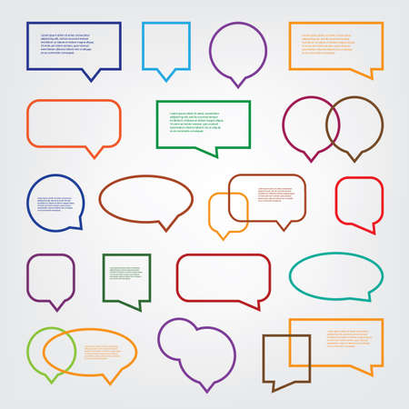 Illustration pour Collection of Blank Empty Colorful Speech And Thought Bubble Vector Designs With Sample Text - image libre de droit