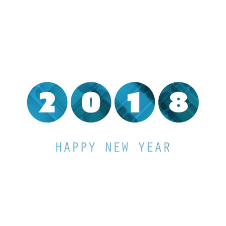 Simple Blue and White New Year Card, Cover or Background Design Template - 2018