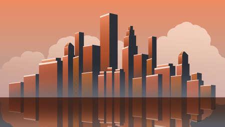 Illustration pour Metropolis - Urban Cityscape Vector Design - image libre de droit