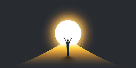 Illustration pour New Possibilities, Hope - Business Finding Solution Vector Concept - Businessman Standing in Dark, Symbol of Light at the End of the Tunnel - image libre de droit