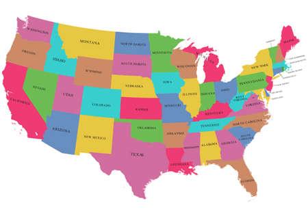 Illustration pour Colorful USA map with states - image libre de droit