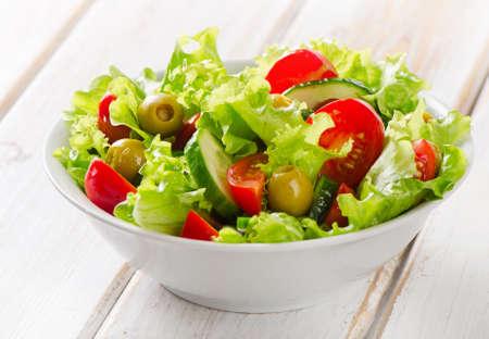 Fresh mixed vegetables salad. Selective focus