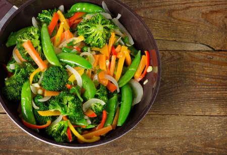 Vegetable stir fry. Healthy eating. Top view