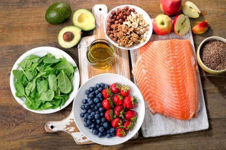 Photo pour Foods for healthy Heart. Top view - image libre de droit