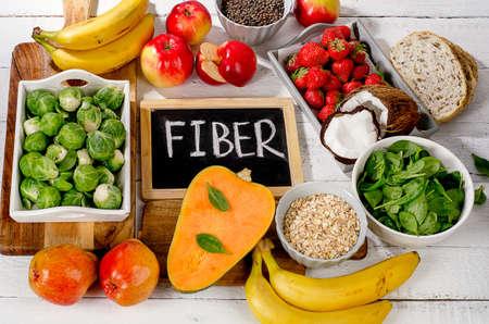 Photo pour High Fiber Foods on  white wooden background. Flat lay - image libre de droit