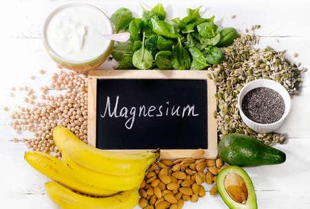 Photo pour Products containing magnesium. Healthy food concept. Top view - image libre de droit