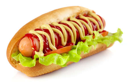 Photo for Hot dog with lettuce and tomato on white background - Royalty Free Image
