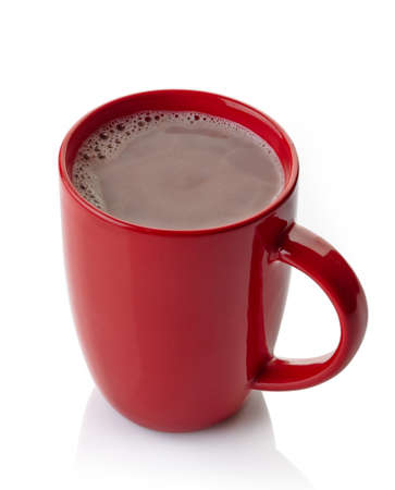 Photo for Red mug of hot chocolate drink isolated on white background - Royalty Free Image