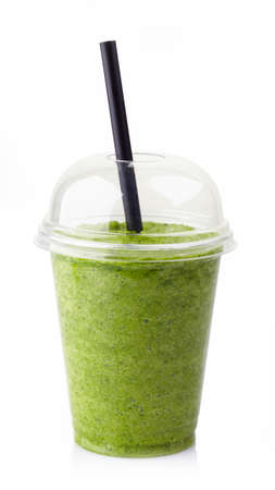 Photo for Glass of healthy green vegetable smoothie isolated on white background - Royalty Free Image