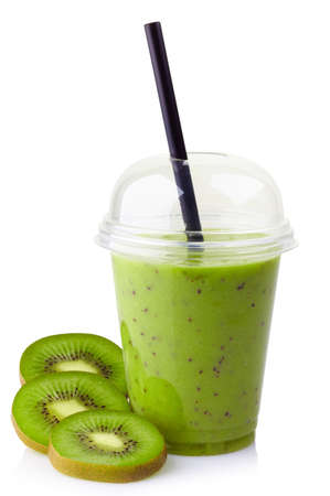 Photo for Glass of kiwi smoothie isolated on white background - Royalty Free Image