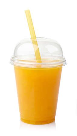 Photo for Take away glass of fresh orange juice isolated on white background - Royalty Free Image