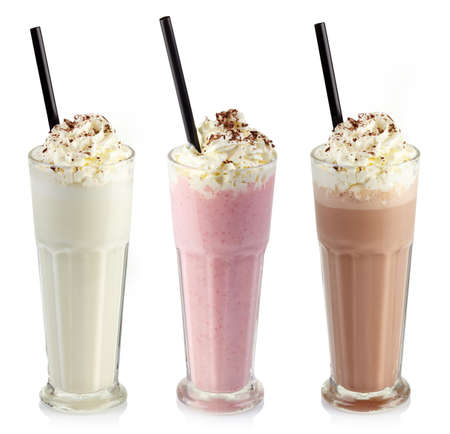 Photo for Three glasses of various milkshakes (chocolate, strawberry and vanilla) isolated on white background - Royalty Free Image