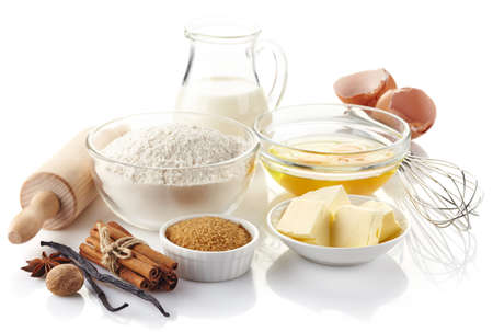 Photo pour Ingredients for baking cake isolated on white background - image libre de droit