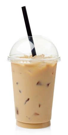 Foto für Iced coffee in plastic take away glass isolated on white background - Lizenzfreies Bild
