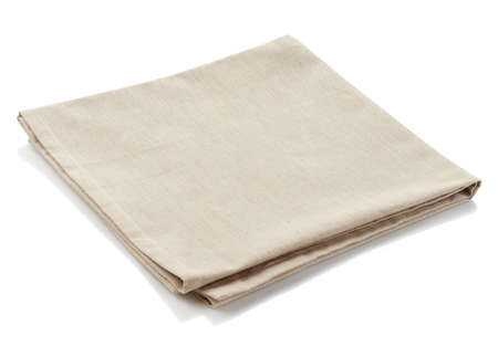 Photo pour Beige cotton napkin isolated on white background - image libre de droit
