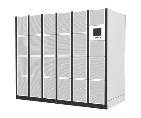 Foto de Uninterruptible power supply for data center, server room isolated on white background - Imagen libre de derechos
